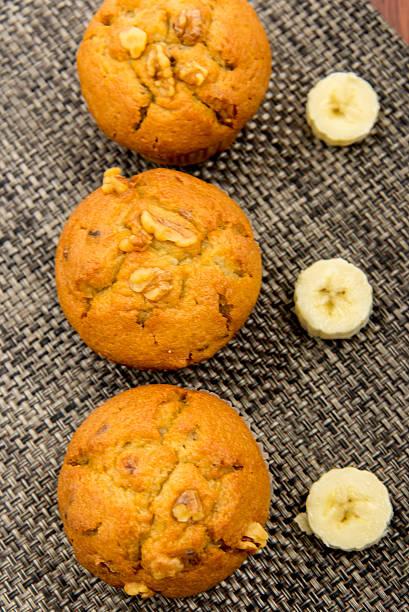 banana nut muffins stock photo