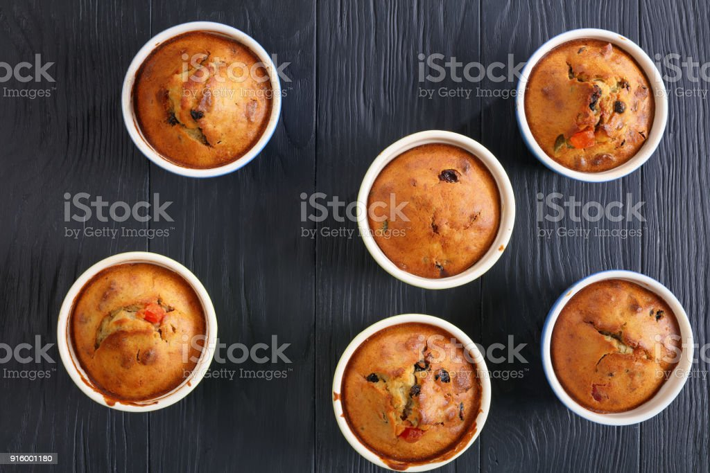 Banana Nut raisin Muffins, top view stock photo