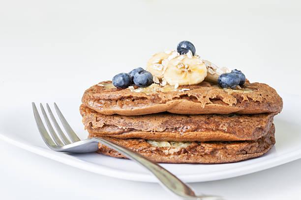 Banana Oat Pancakes stock photo