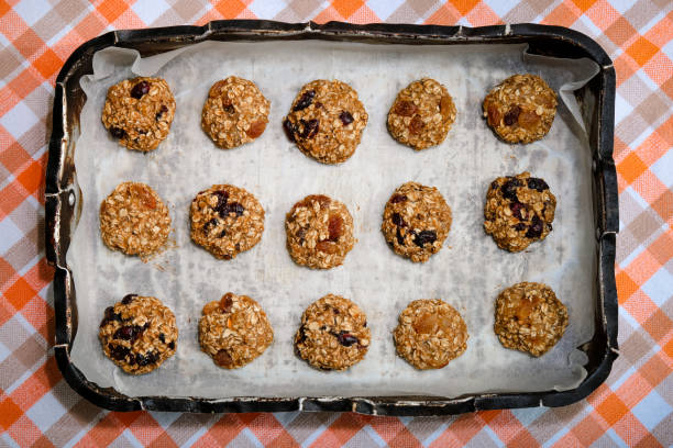 Banana, Oats, Raisins and Cranberry Healthy diet cookies stock photo