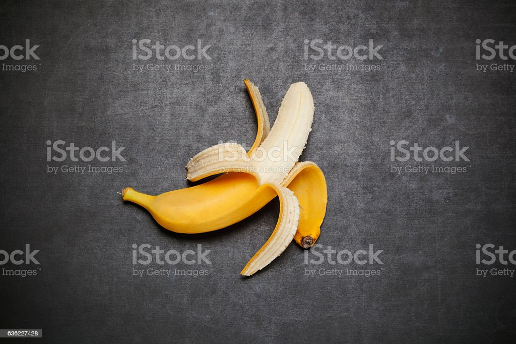 Banana on blackboard 스톡 사진