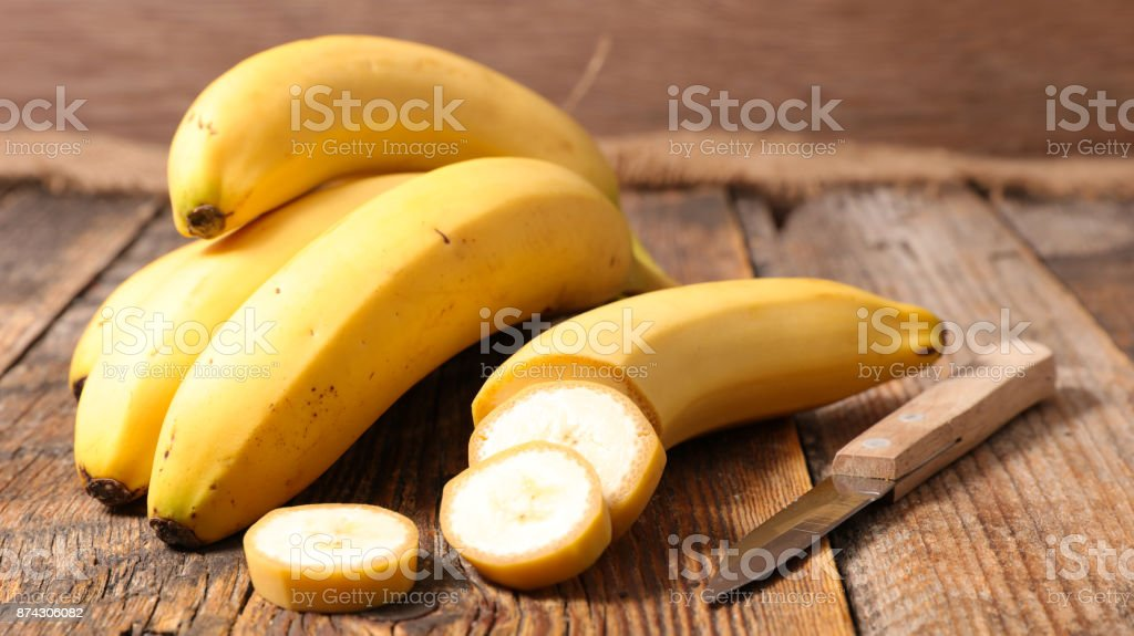 banana on wood background stock photo