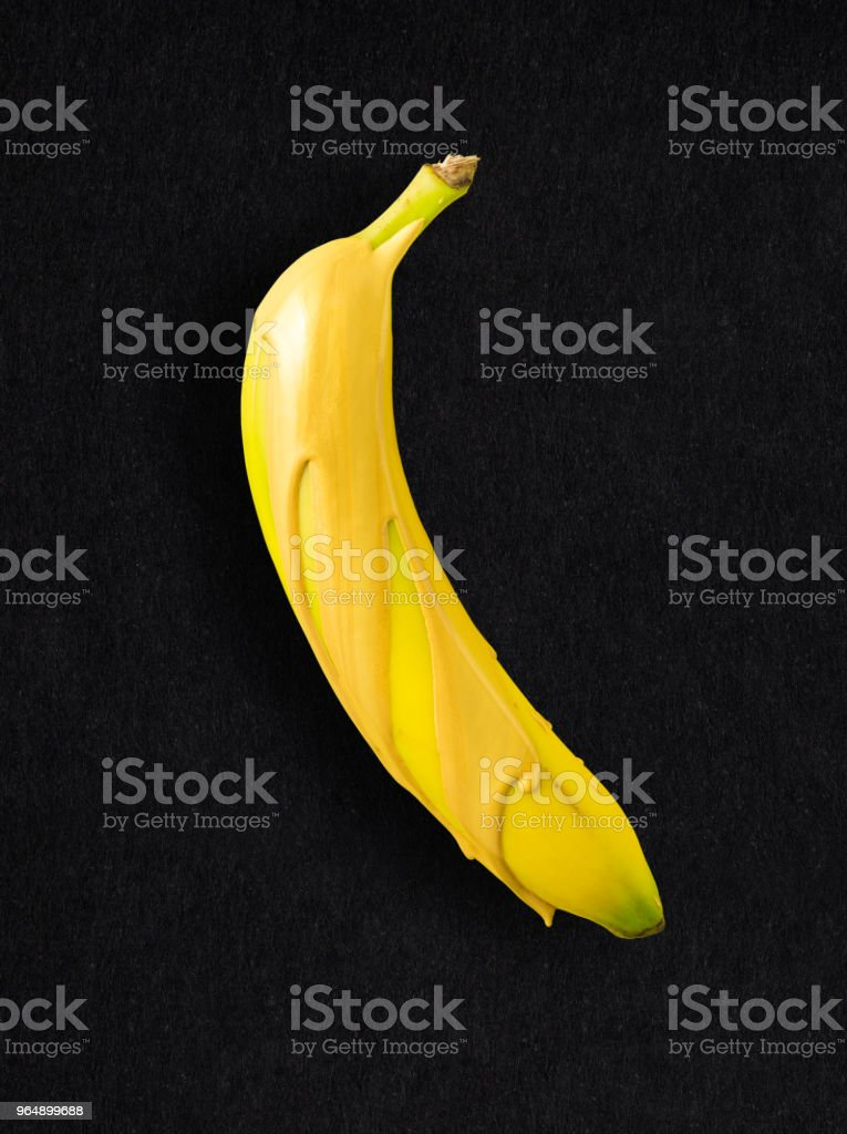 Banana over gold. royalty-free stock photo
