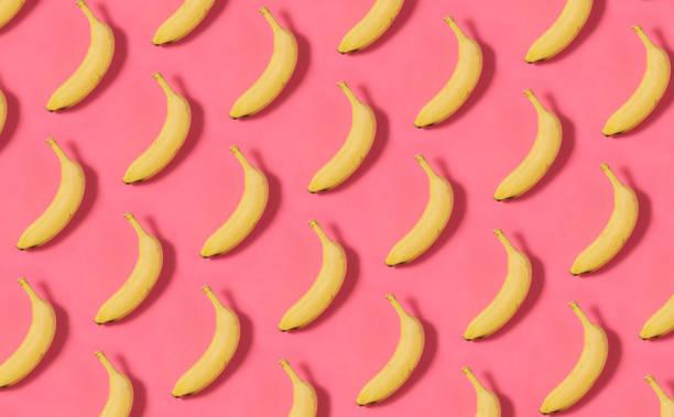 Banana Pattern on Pink Background stock photo