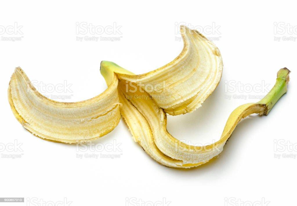 Banane schälen isoliert auf weißem Hintergrund – Foto