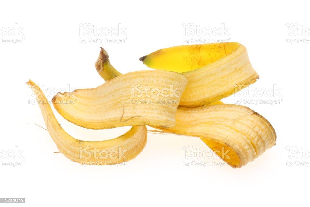 Bananenschale isoliert auf weißem Hintergrund – Foto