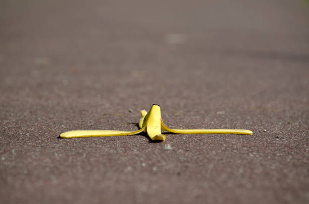 Banana Peel on the Street stock photo