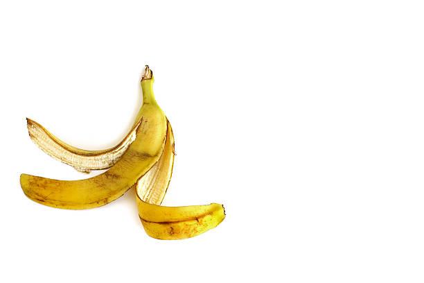 Banana peel on white background Banana peel on white background banana peel stock pictures, royalty-free photos & images