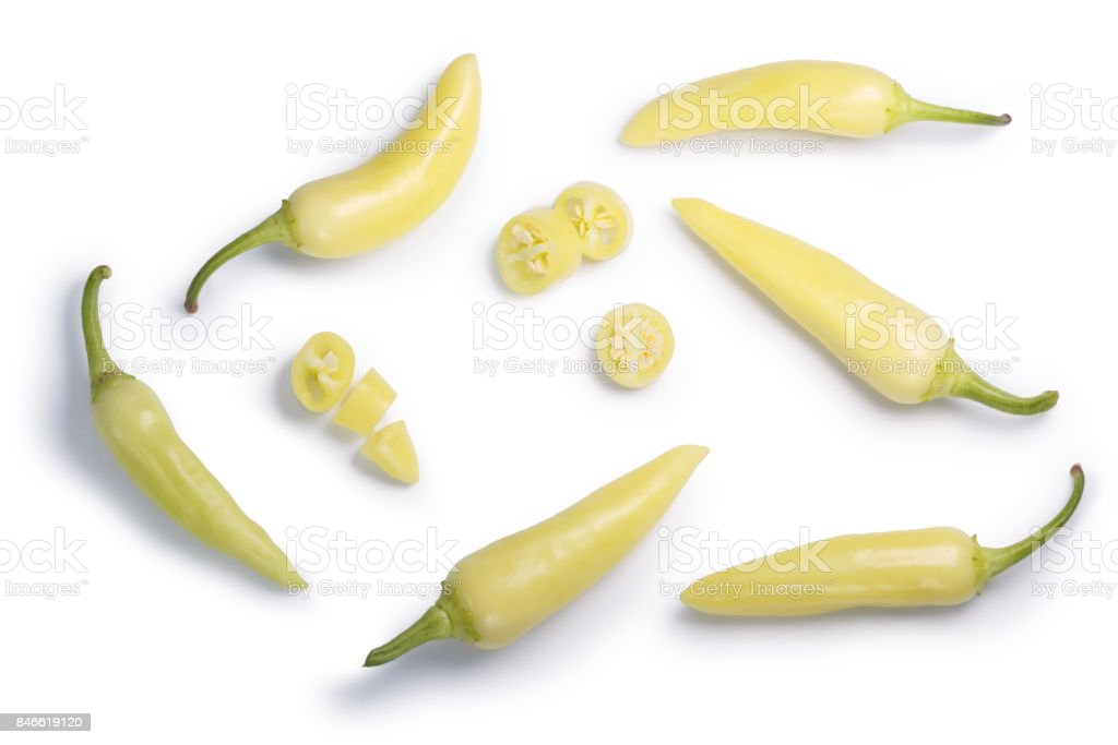 Banana peppers c. annuum, top view, paths stock photo