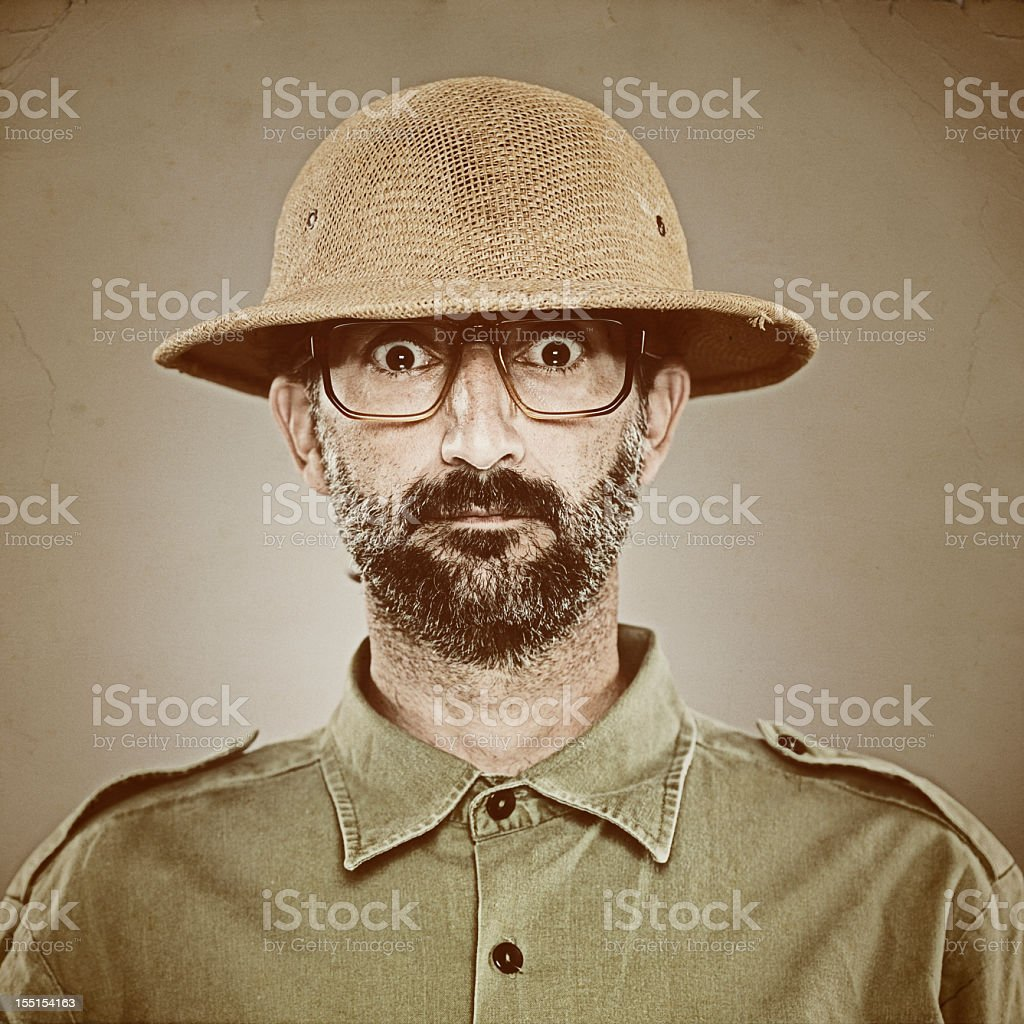 Banana republic soldier with pith helmet. stock photo
