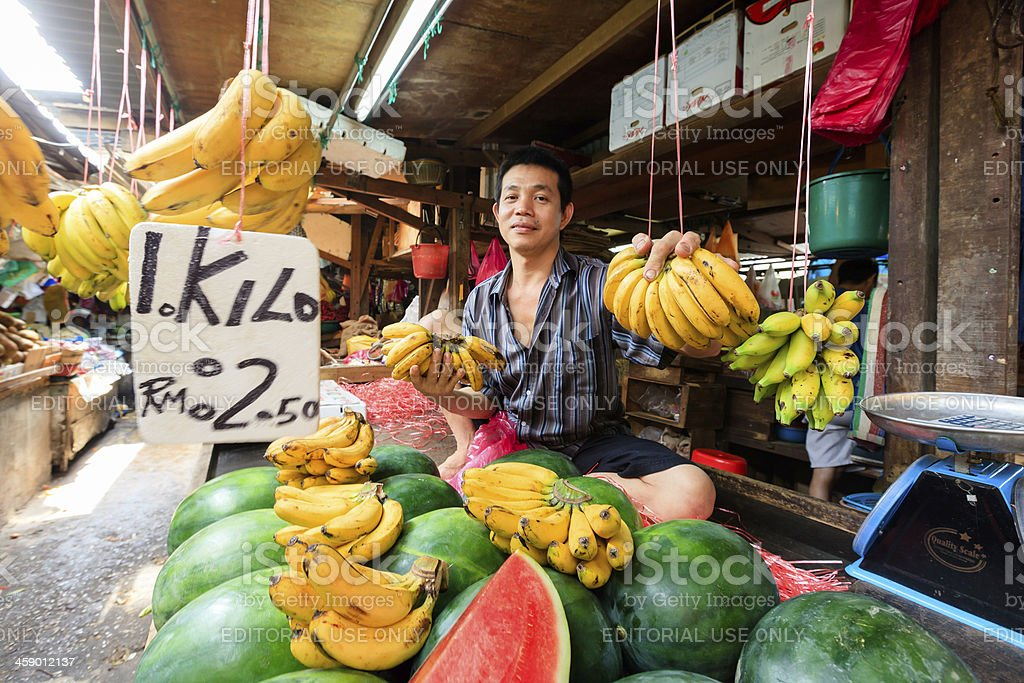 Banana Seller, Marketplace royalty-free stock photo