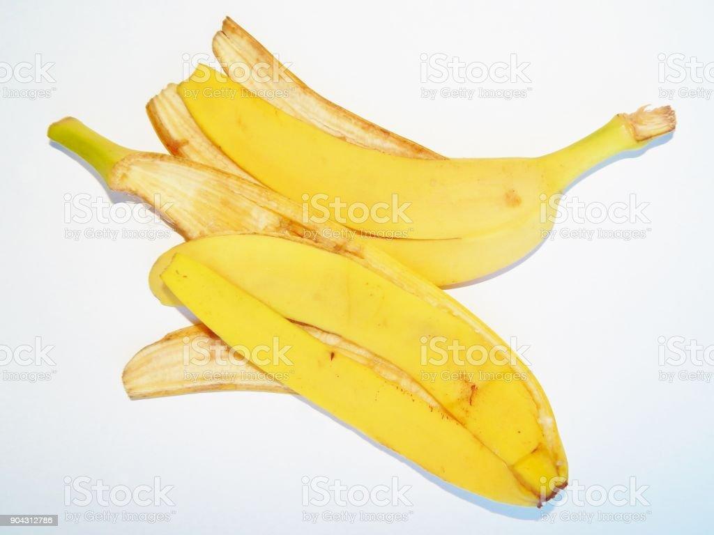 banana skin on a white background stock photo