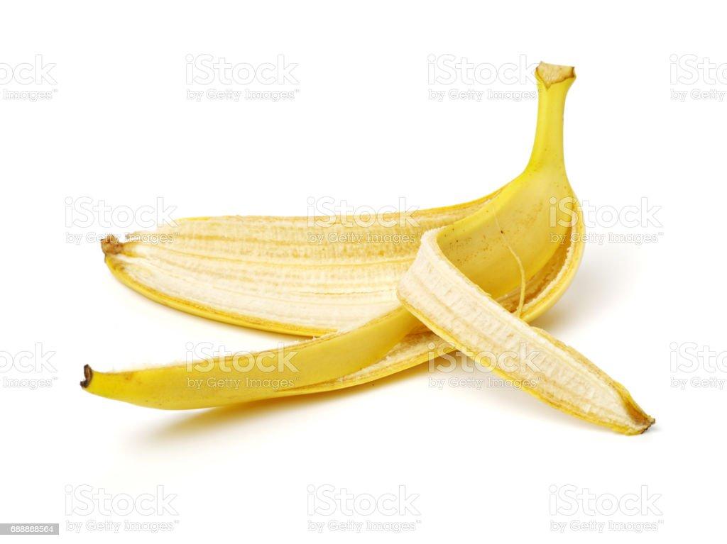 Bananenschale auf weißem Hintergrund – Foto