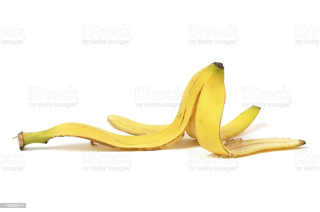 Banana Skin Banana skin isolated on white background Banana Stock Photo