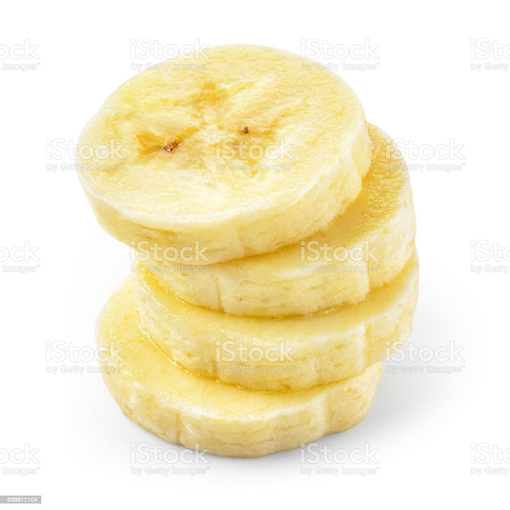 Banana slice. Heap isolated on white. With clipping path. stock photo