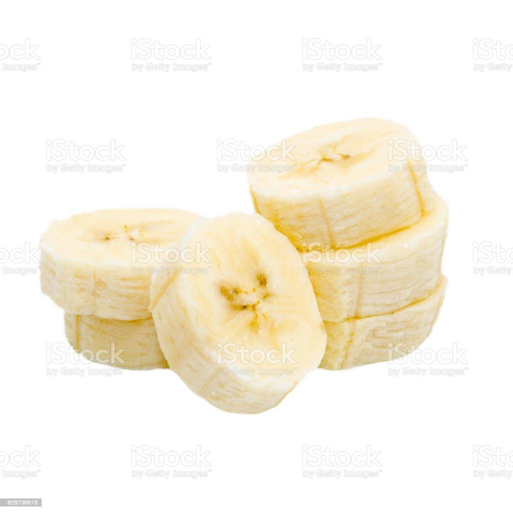 Banana slice isolated on white background stock photo