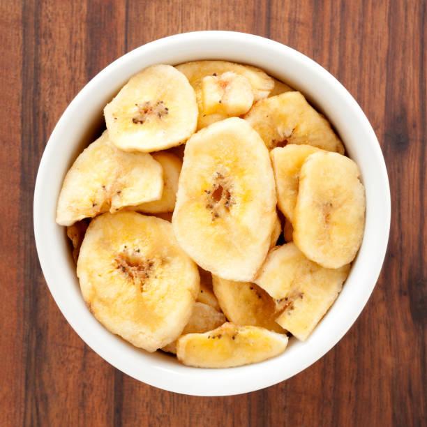 Banana slice snacks stock photo