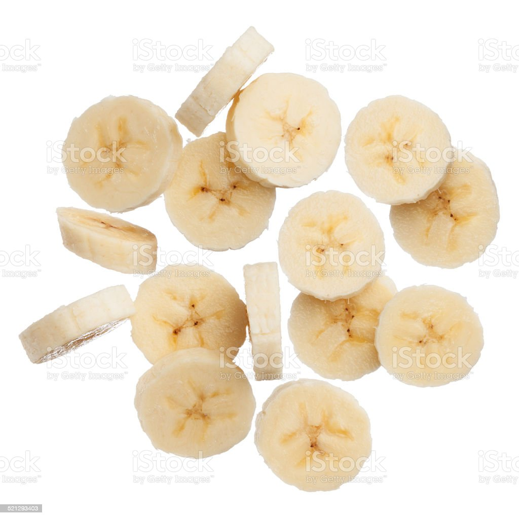 Banana slices isolated on white background stock photo