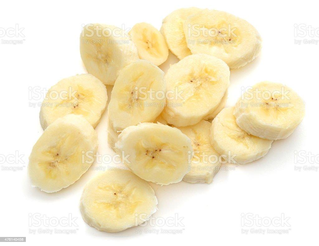 Banana slices isolated on white stock photo