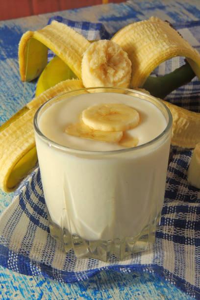 banana smoothie and babana stock photo