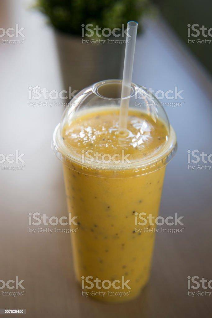 banana smoothie stock photo