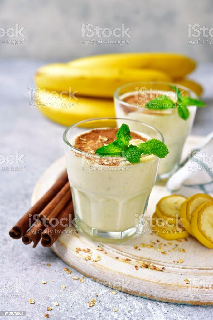 Banana smoothie with cinnamon stock photo
