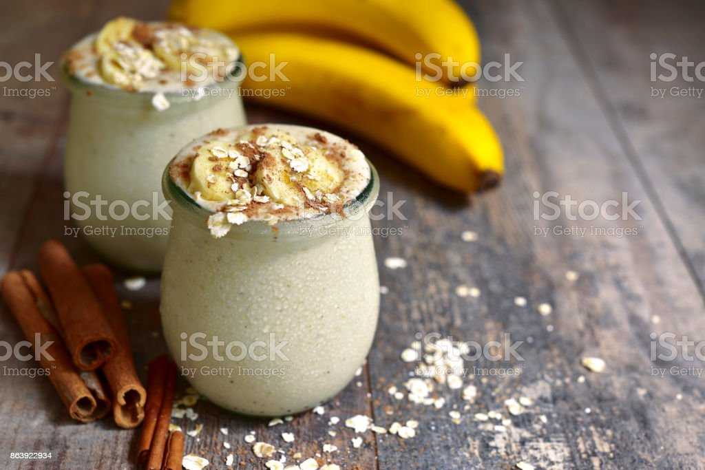 Banana smoothie with oats stock photo
