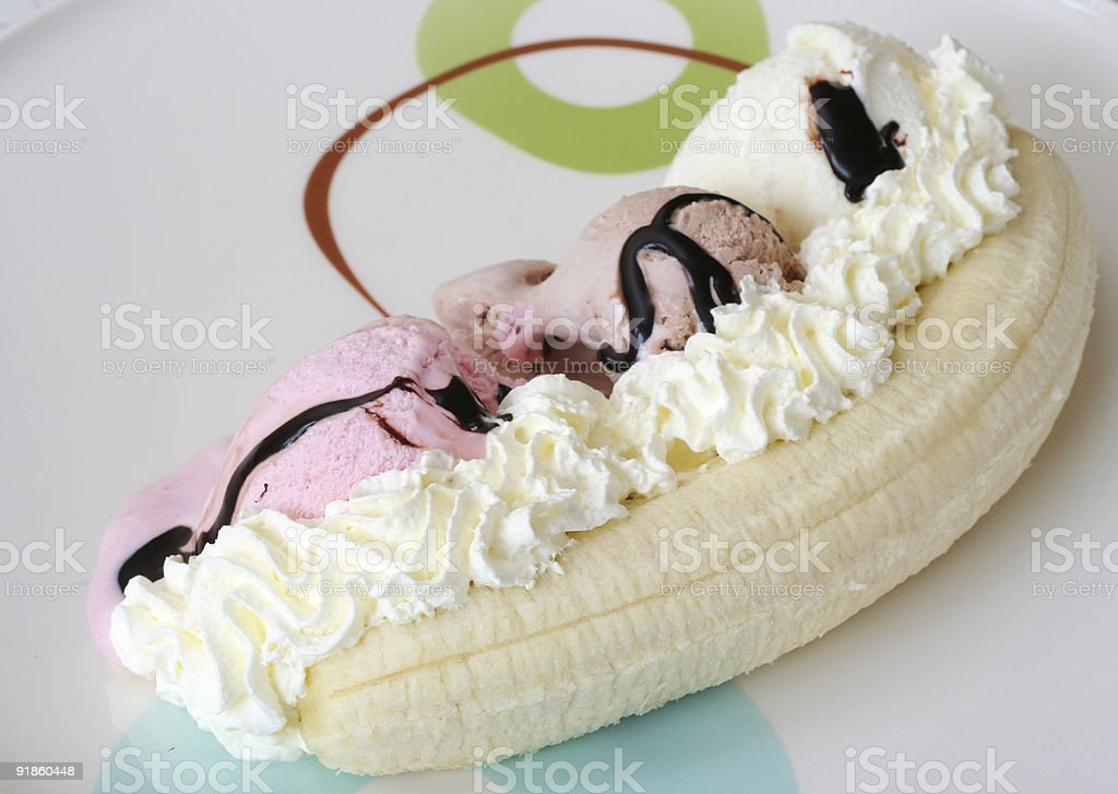 Banana split royalty-free stock photo