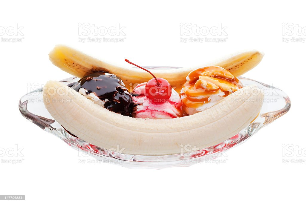 Banana split sundae stock photo