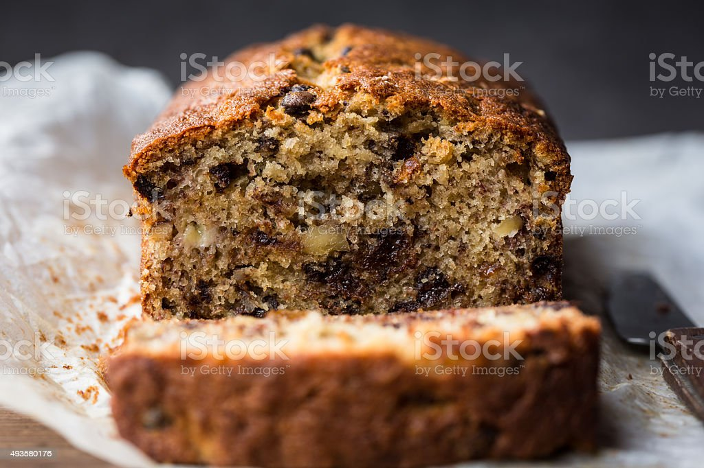 Banana walnut and chocolate chips bread stock photo
