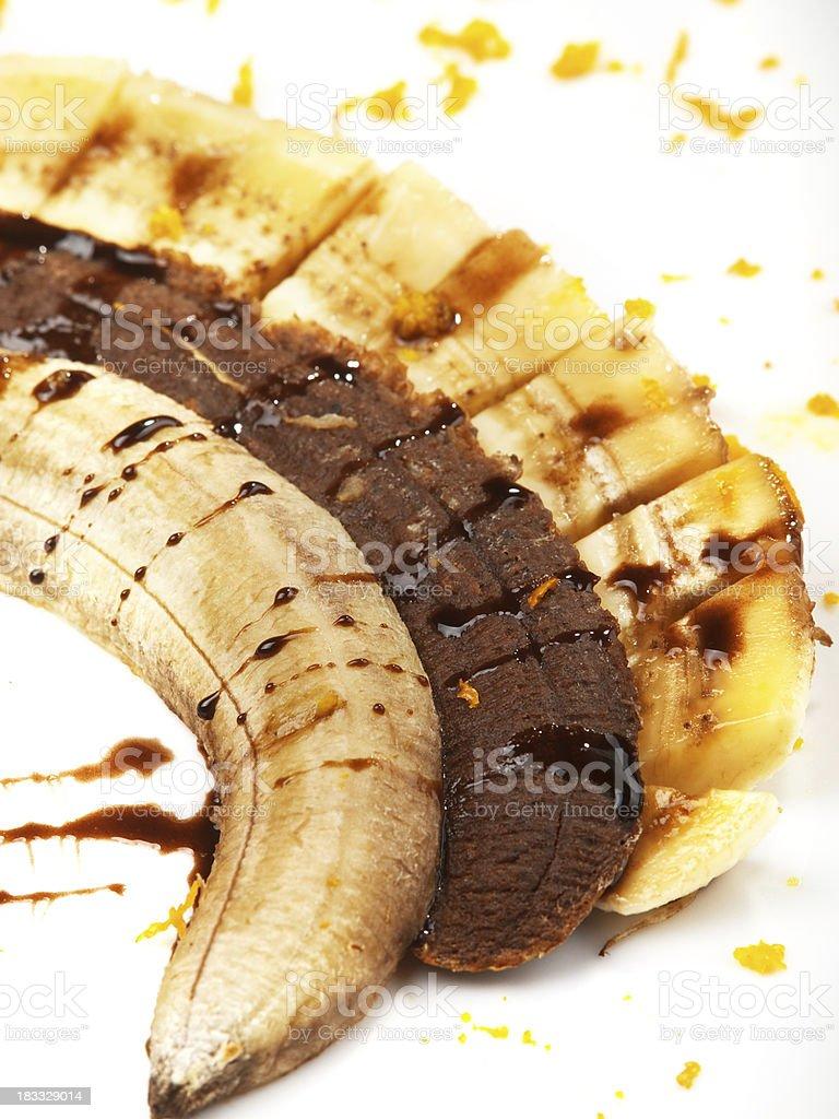 Banana with chocolate royalty-free stock photo