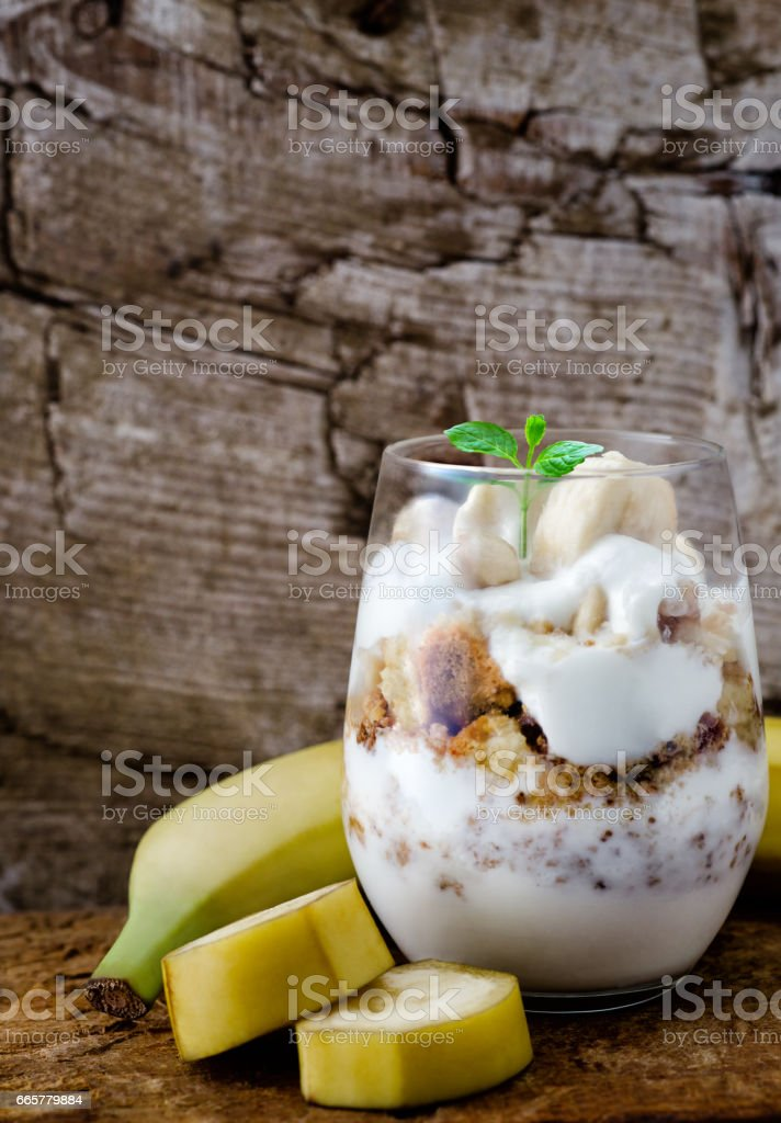 Banana yoghurt coctail stock photo