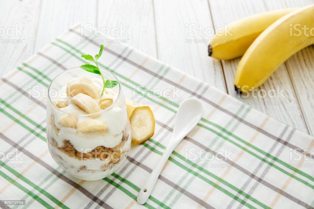 香蕉優酪乳雞尾酒 免版稅 stock photo