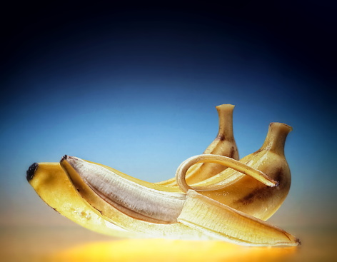 bananas on blue and yellow background