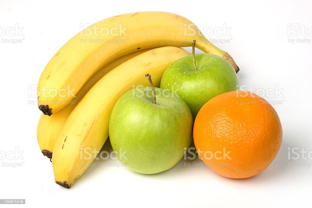 Bananas, apples and oranges stock photo