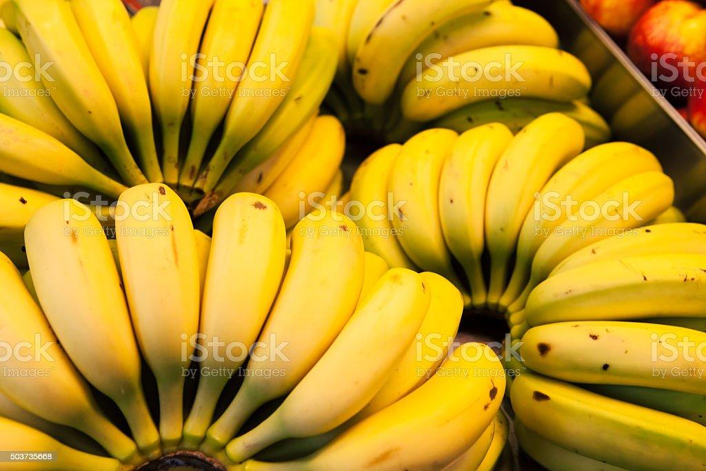 Bananas at market. Background. stock photo