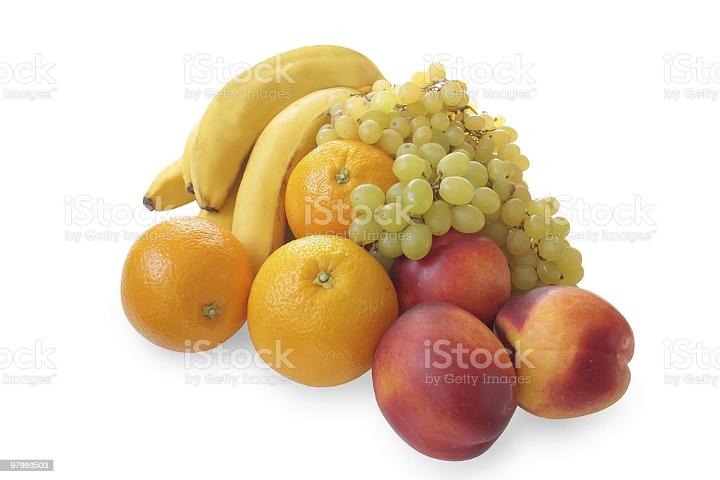 bananas, grapes, oranges and nectarines royalty free stockfoto