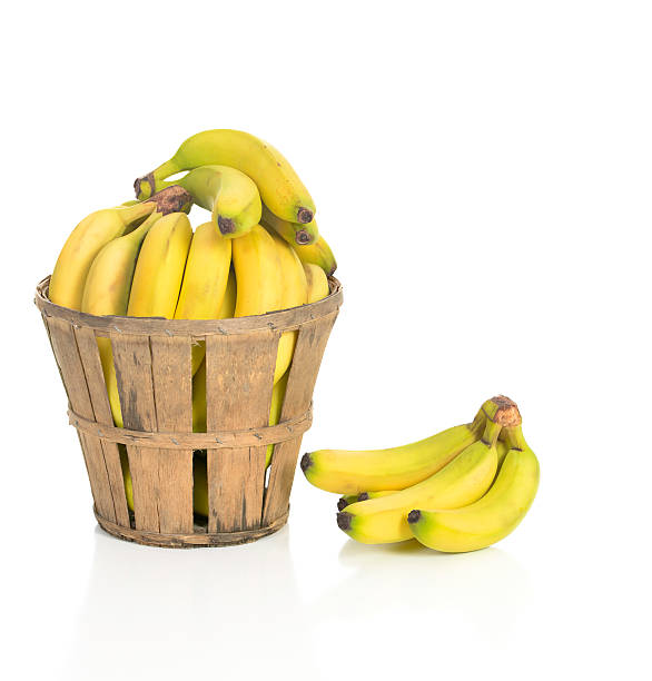 Bananas in a Rustic Basket stock photo
