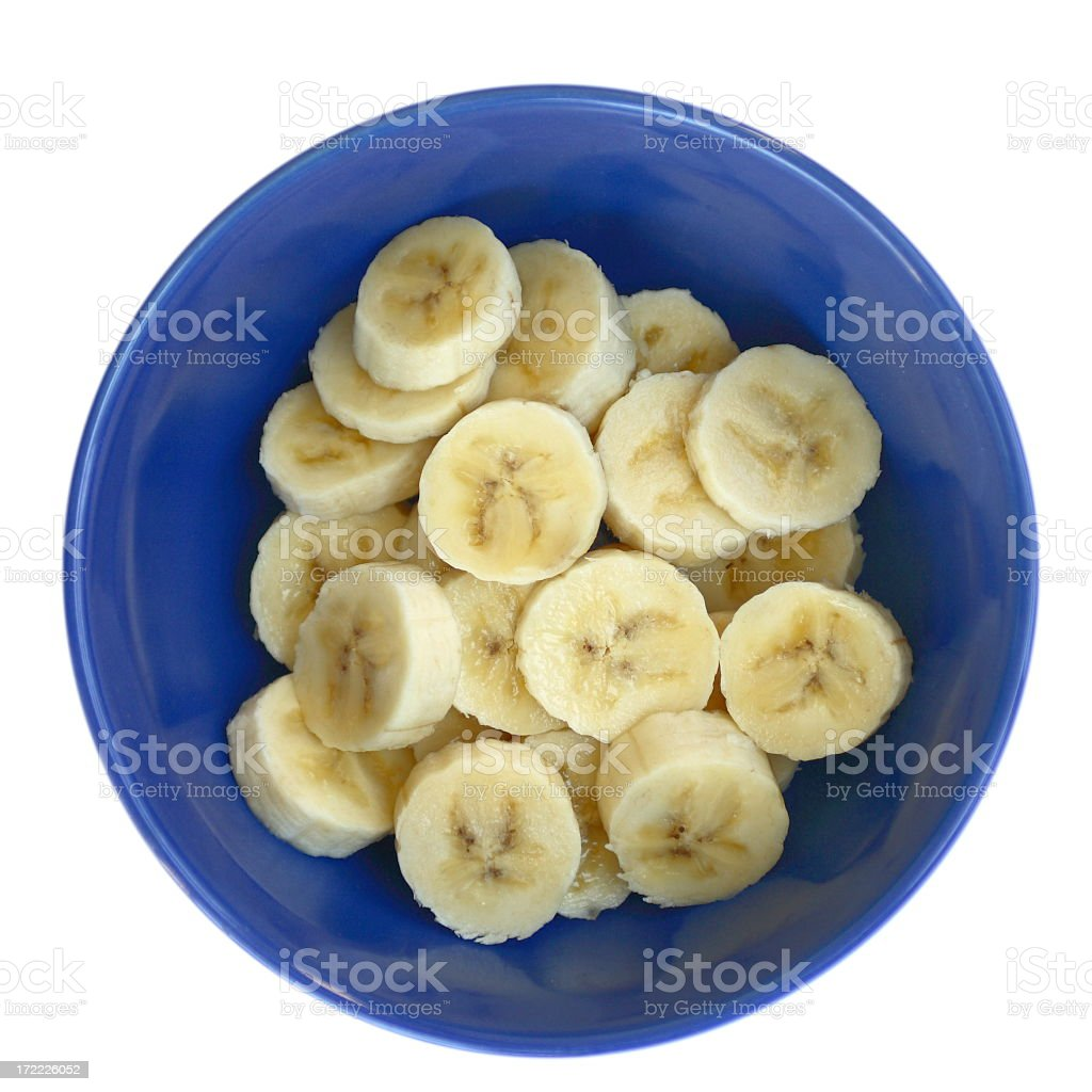 Bananas in Blue Bowl stock photo