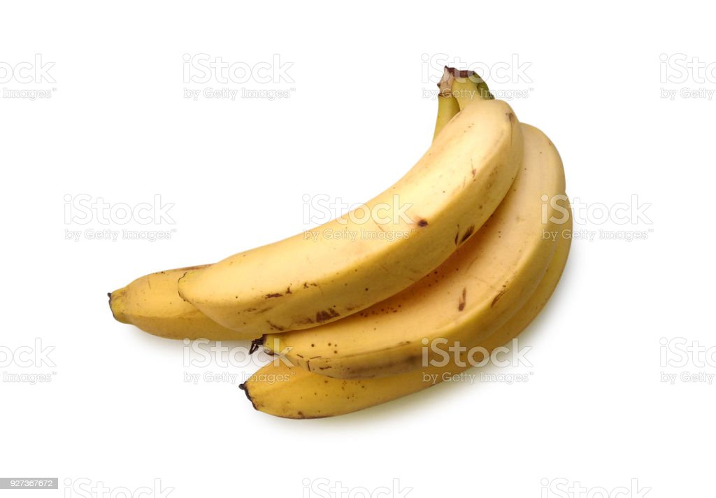 Bananas isolated on white background Yellow and black mature bananas isolated on white background Agriculture Stock Photo