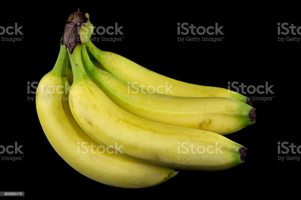 Bananas on a Black Background stock photo
