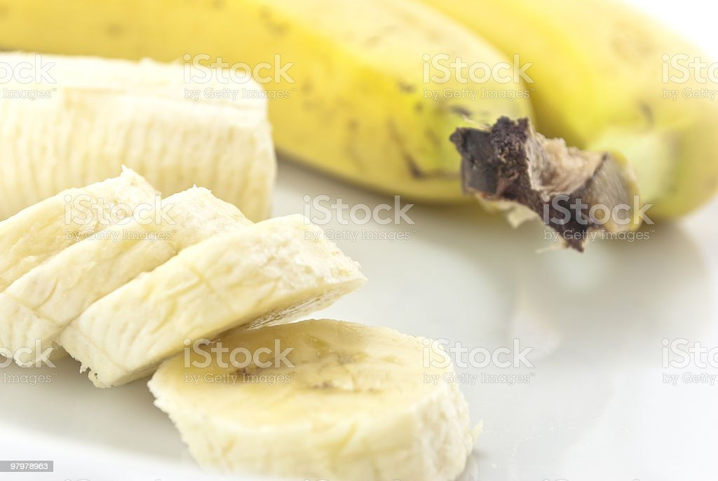 Bananas Peeled, Unpeeled and sliced royalty-free stock photo