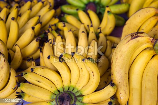 Yellow fresh bananas close up in fresh market in Thailand.