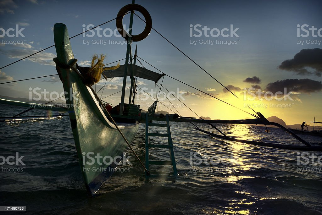 banca outrigger boats in the philippines royalty-free stock photo
