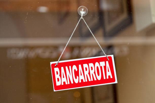 Bancarrota - Closed sign stock photo