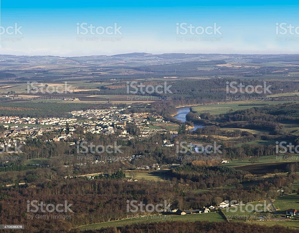 Banchory from Scolty Hill Aberdeenshire Scotland stock photo