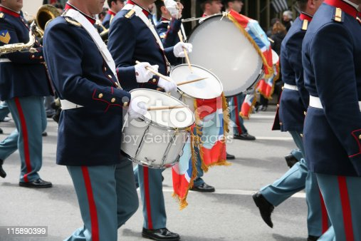 Members of a military band in full uniform in an army parade during a national holiday in Athens, Greece.