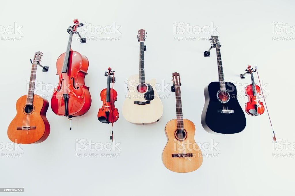 Band instruments stock photo