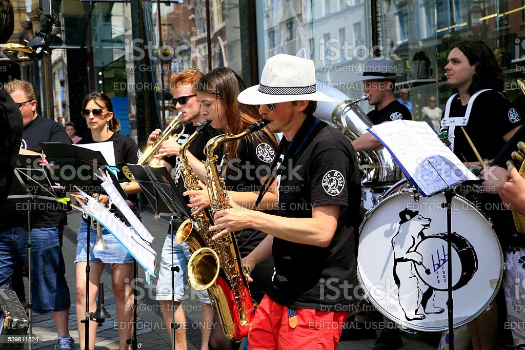 Band of Buskers. stock photo