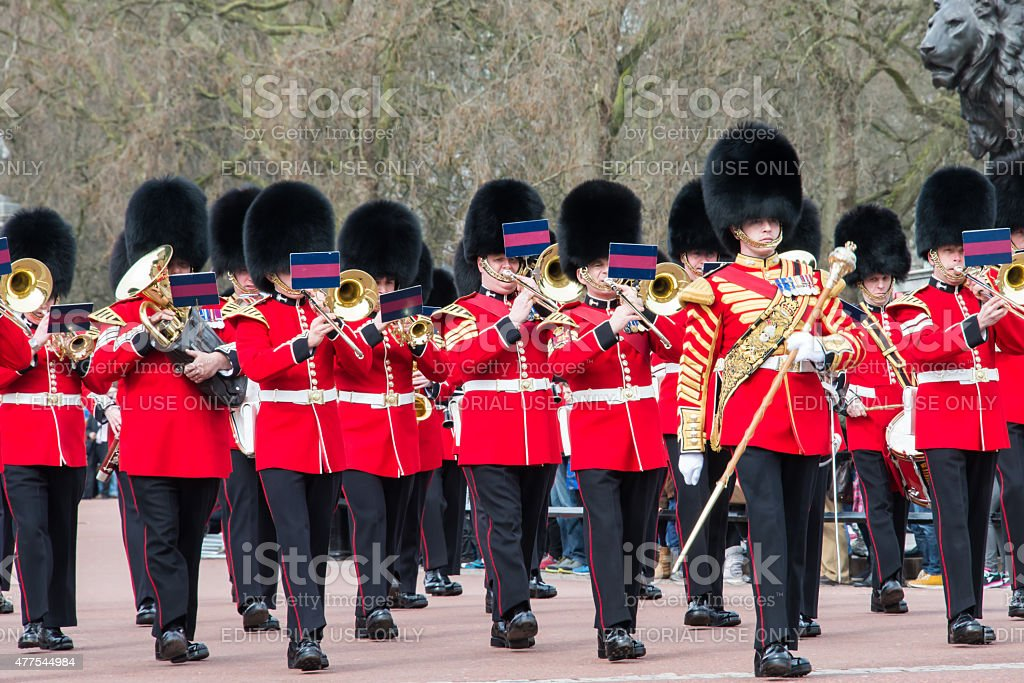 Band of Grenadier Guards Marching from Buckingham Palace 2 stock photo